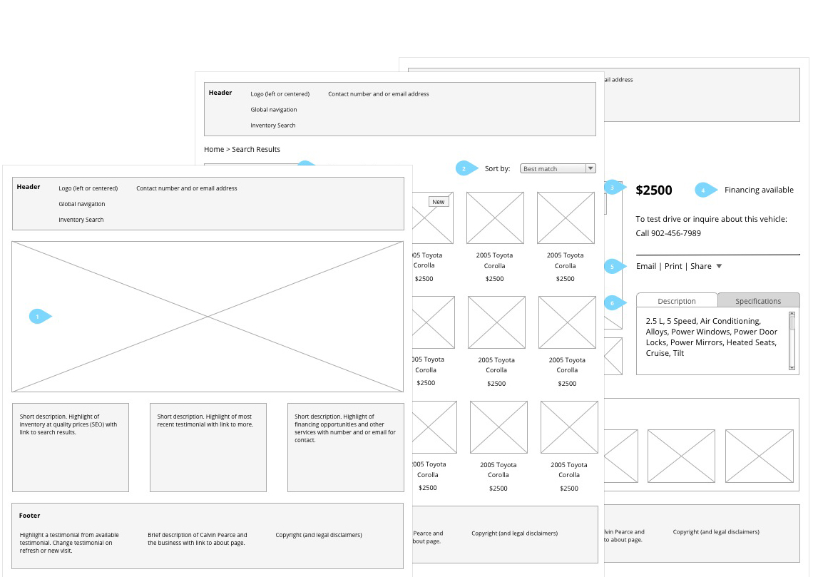 Calvin Pearce Auto - Wireframes