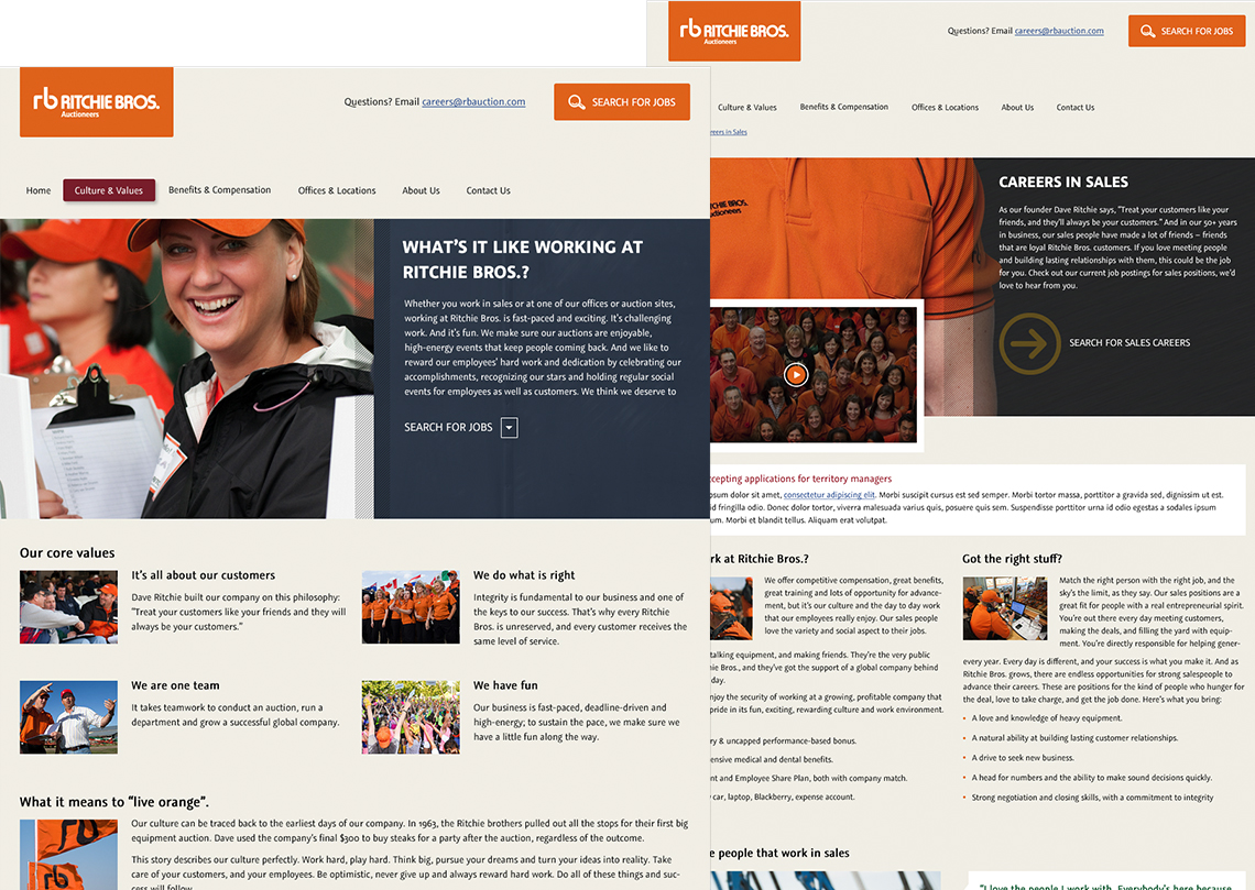Ritchie Bros. Careers Website Design