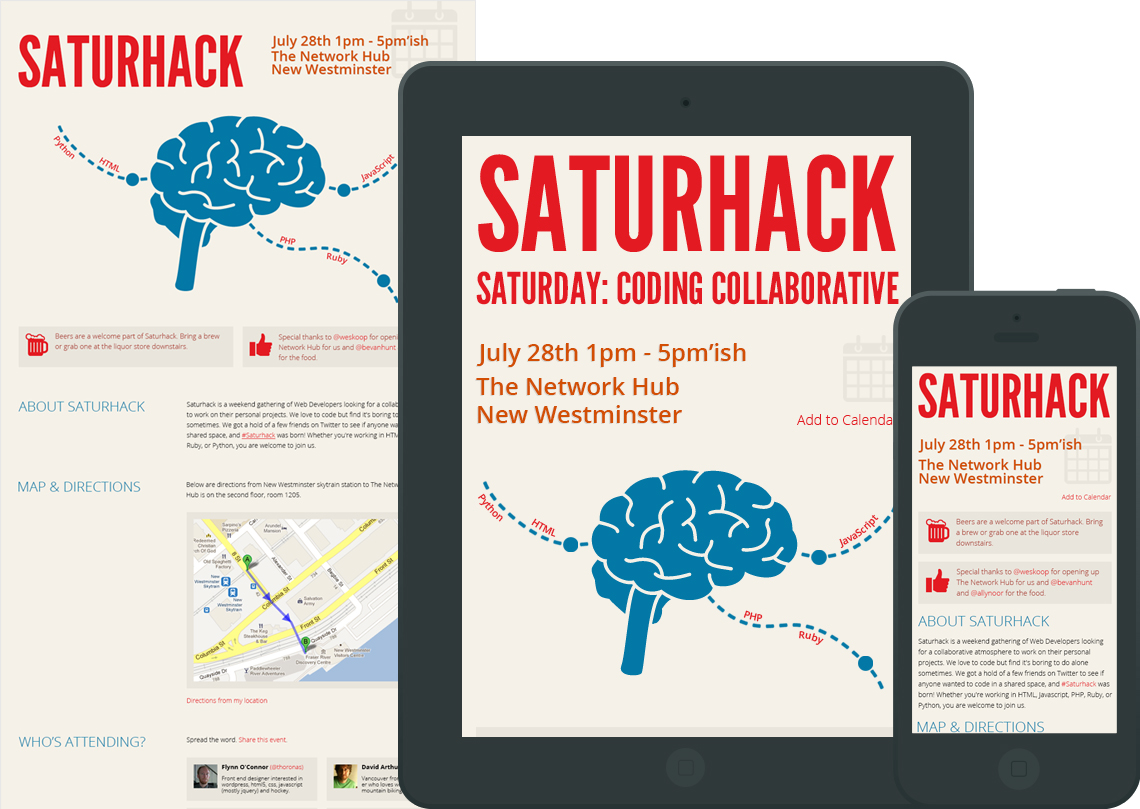 Saturhack - Single Page Design
